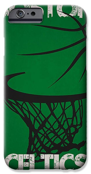 Tickets Boston iPhone Cases - Boston Celtics Hoop iPhone Case by Joe Hamilton