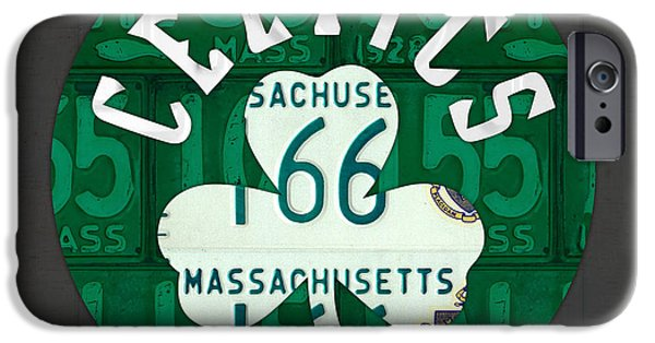 Basketball Team iPhone Cases - Boston Celtics Basketball Team Retro Logo Vintage Recycled Massachusetts License Plate Art iPhone Case by Design Turnpike