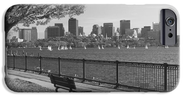 Boston iPhone Cases - Boston Charles River black and white  iPhone Case by John Burk