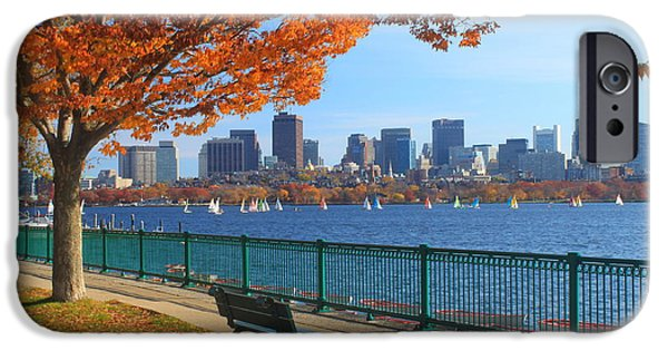 Fall Foliage iPhone Cases - Boston Charles River in Autumn iPhone Case by John Burk