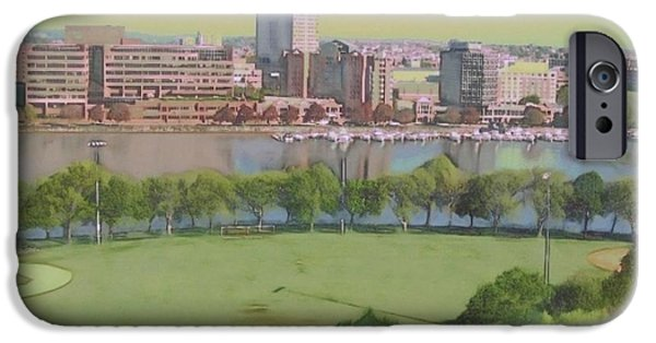 Boston Ma Paintings iPhone Cases - Boston Charles River View - Square iPhone Case by Lyn Voytershark