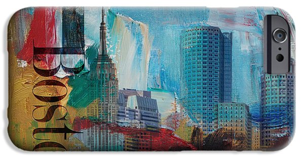 City. Boston iPhone Cases - Boston City Collage 3 iPhone Case by Corporate Art Task Force