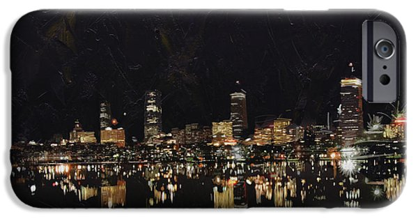 Digital Paintings iPhone Cases - Boston City Skyline 2 iPhone Case by Corporate Art Task Force