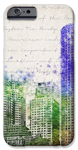 Boston City Skyline iPhone Case by Aged Pixel