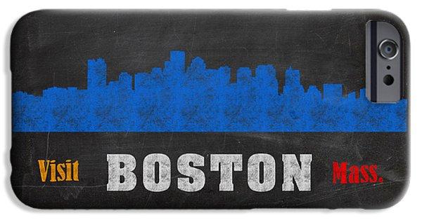 Boston Mixed Media iPhone Cases - Boston City Skyline Chalkboard Chalk Art iPhone Case by Design Turnpike