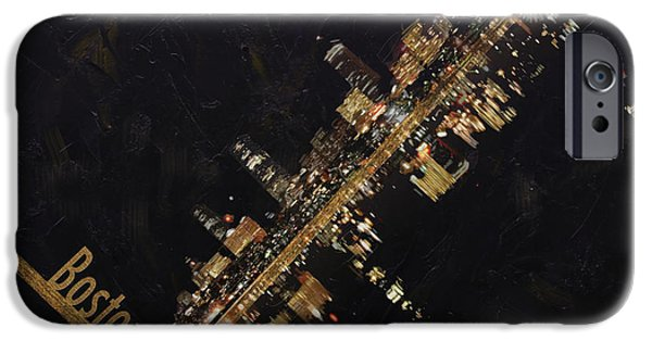 City. Boston iPhone Cases - Boston City Skyline iPhone Case by Corporate Art Task Force