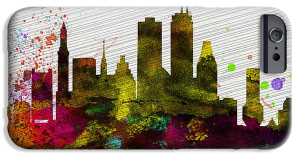 Horizon Paintings iPhone Cases - Boston City Skyline iPhone Case by Naxart Studio