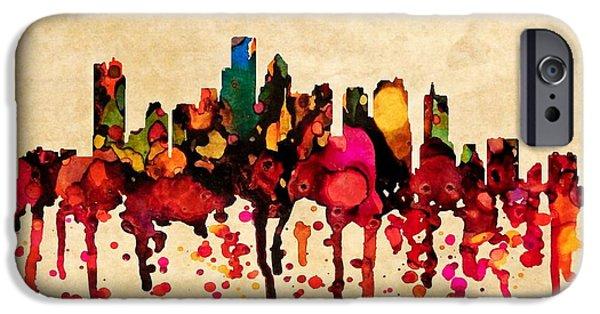 City. Boston iPhone Cases - Boston city skyline with paint  splash iPhone Case by Lilia D