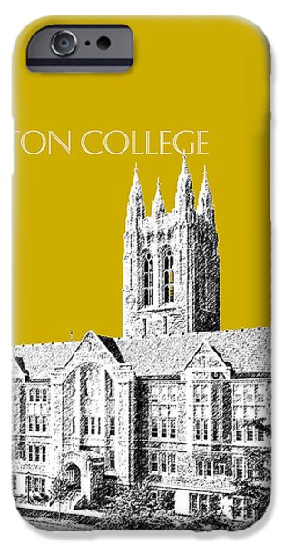 Pen And Ink iPhone Cases - Boston College - Gold iPhone Case by DB Artist