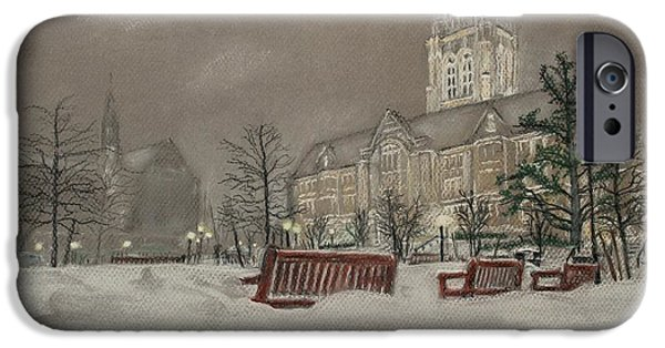 Winter Scene Pastels iPhone Cases - Boston College campus on a winters night iPhone Case by John Ruggiero