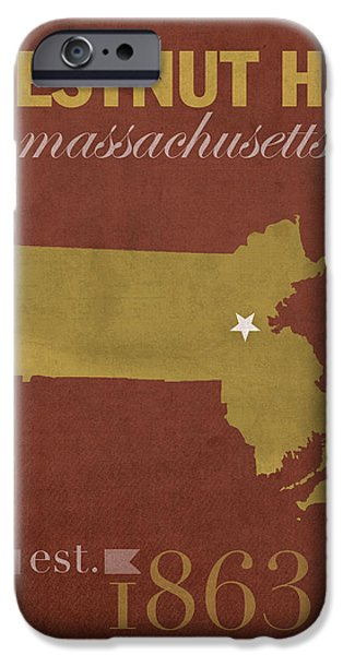 Boston Map iPhone Cases - Boston College Eagles Chestnut Hill Massachusetts College Town State Map Poster Series No 020 iPhone Case by Design Turnpike