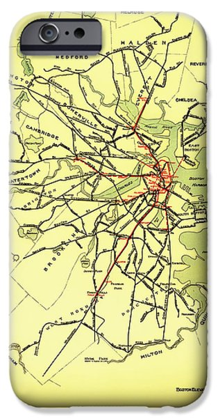 City. Boston Drawings iPhone Cases - Boston Elevated Railway System Map 1921 iPhone Case by Mountain Dreams