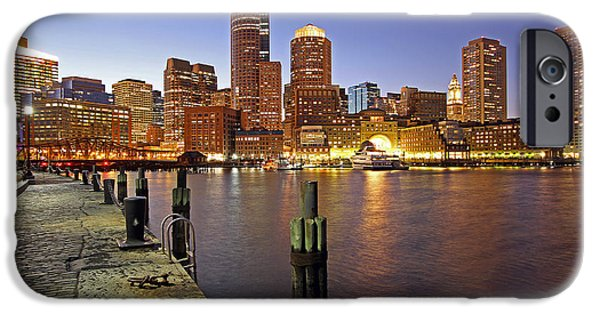 Boston Nightscape iPhone Cases - Boston Fan Pier and Financial District iPhone Case by Juergen Roth