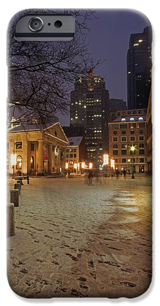 Snowy Night iPhone Cases - Boston Faneuil Hall and Quincy Market iPhone Case by Juergen Roth