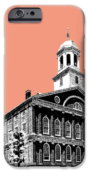 Pen And Ink iPhone Cases - Boston Faneuil Hall - Salmon iPhone Case by DB Artist