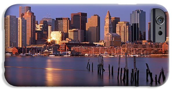Custom House Tower iPhone Cases - Boston Financial District and Harbor iPhone Case by Juergen Roth