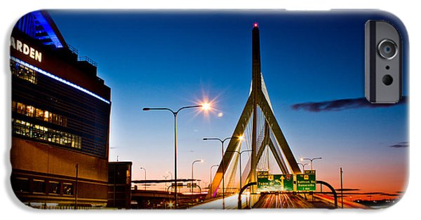 City. Boston iPhone Cases - Boston Garden and Bunker Hill Bridge  iPhone Case by John McGraw