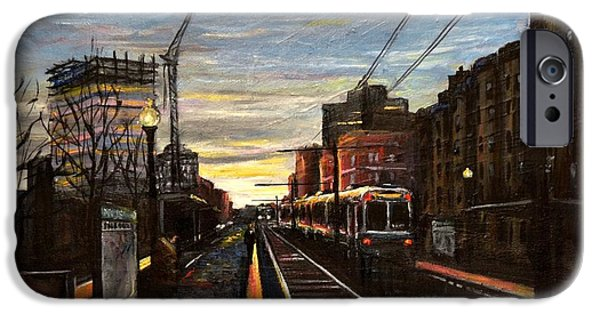 City. Boston Paintings iPhone Cases - Boston Green Line E Train Museum Stop iPhone Case by Karen Strangfeld