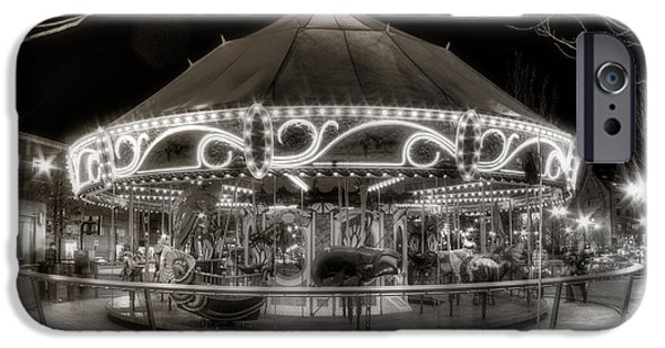 City. Boston iPhone Cases - Boston Greenway Carousel in Black and White iPhone Case by Joann Vitali