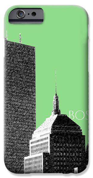 Pen And Ink iPhone Cases - Boston Hancock Tower - Sage iPhone Case by DB Artist