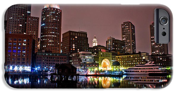 City. Boston iPhone Cases - Boston Harbor at Night  iPhone Case by John McGraw
