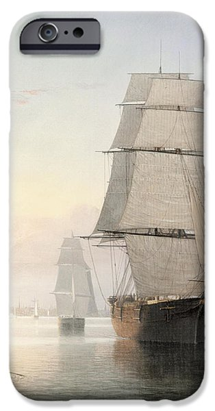 Tall Ship Digital iPhone Cases - Boston Harbor At Sunset Detail 1 iPhone Case by Fitz Henry Lane