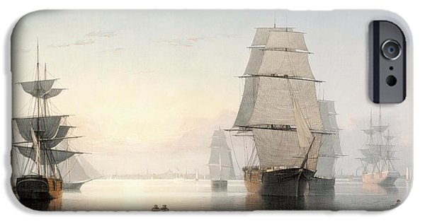 Tall Ship Digital iPhone Cases - Boston Harbor At Sunset iPhone Case by Fitz Henry Lane