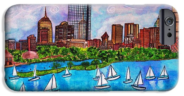 Recently Sold -  - Sailboat iPhone Cases - Boston Harbor iPhone Case by Janet Immordino