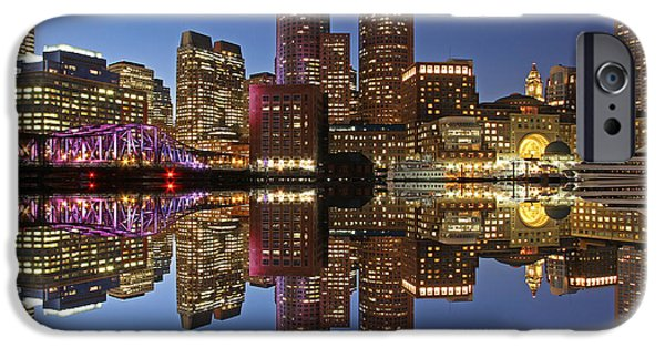 City. Boston iPhone Cases - Boston Harbor iPhone Case by Juergen Roth