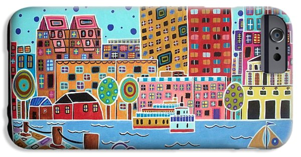 Boston Cityscape iPhone Cases - Boston Harbor iPhone Case by Karla Gerard