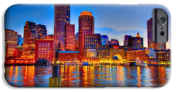 Newengland iPhone Cases - Boston Harbor iPhone Case by Ludmila Nayvelt