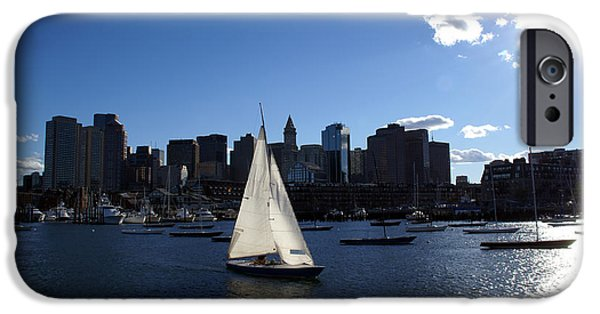 Boston Cityscape iPhone Cases - Boston Harbor iPhone Case by Olivier Le Queinec