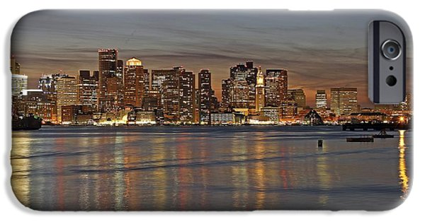 Home Improvement iPhone Cases - Boston Harbor Skyline Reflection iPhone Case by Juergen Roth