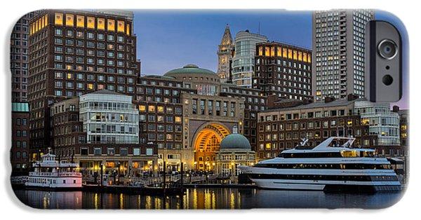 Boston Skyline iPhone Cases - Boston Harbor Skyline iPhone Case by Susan Candelario
