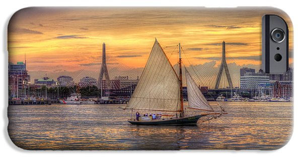 Recently Sold -  - Sailboat iPhone Cases - Boston Harbor Sunset Sail iPhone Case by Joann Vitali