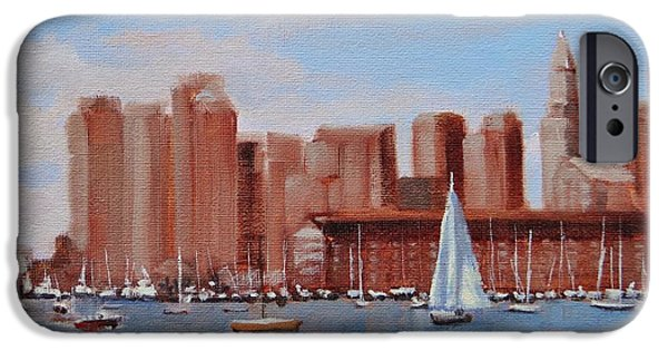 City. Boston Paintings iPhone Cases - Boston Harbor View iPhone Case by Laura Lee Zanghetti