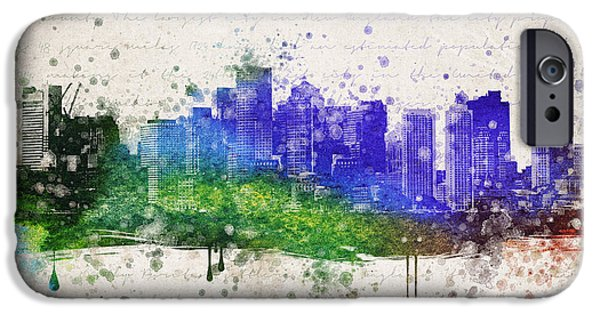 Downtown Mixed Media iPhone Cases - Boston in Color iPhone Case by Aged Pixel