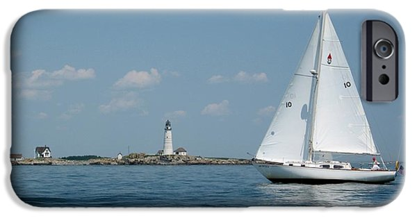 Sailboat Ocean iPhone Cases - Boston Light two iPhone Case by Laura Lee Zanghetti
