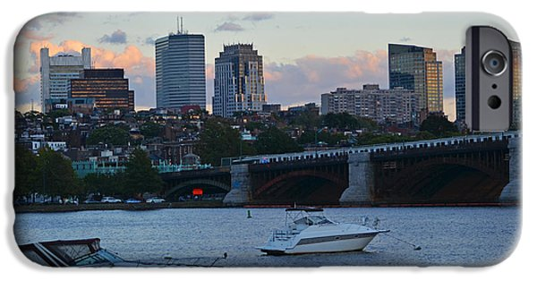 Charles Bridge Digital iPhone Cases - Boston Longfellow Bridge Kayaker iPhone Case by Toby McGuire