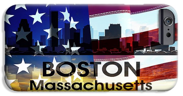 City. Boston iPhone Cases - Boston MA Patriotic Large Cityscape iPhone Case by Angelina Vick