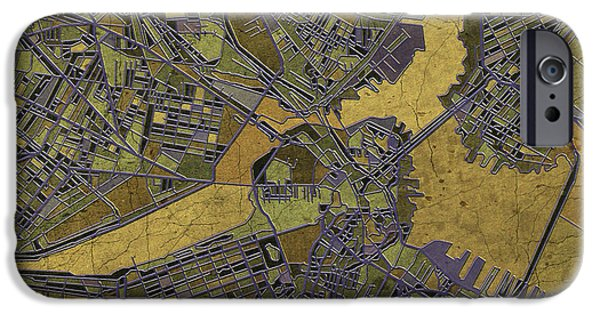 City. Boston iPhone Cases - Boston Map Antique 2 iPhone Case by MB Art factory