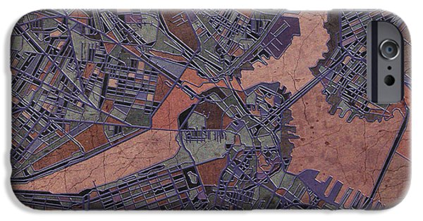 City. Boston iPhone Cases - Boston Map Antique iPhone Case by MB Art factory