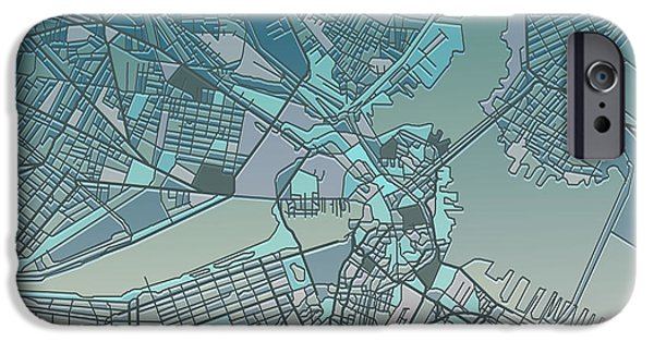 City. Boston iPhone Cases - Boston Map  iPhone Case by MB Art factory