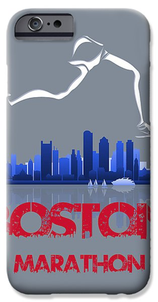 City. Boston iPhone Cases - Boston Marathon3 iPhone Case by Joe Hamilton