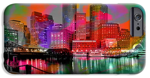 Boston Skyline iPhone Cases - Boston Massachusetts Skyline  iPhone Case by Marvin Blaine