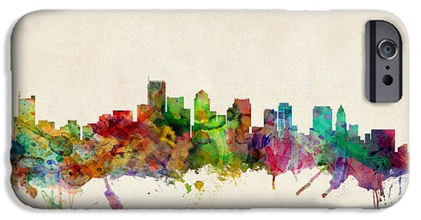 Boston Cityscape iPhone Cases - Boston Massachusetts Skyline iPhone Case by Michael Tompsett