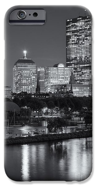 Charles River iPhone Cases - Boston Night Skyline VII iPhone Case by Clarence Holmes