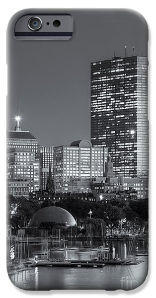 Bean Town iPhone Cases - Boston Night Skyline VIII iPhone Case by Clarence Holmes