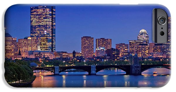 Boston Cityscape iPhone Cases - Boston Nights 2 iPhone Case by Joann Vitali