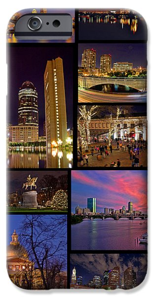 Charles River iPhone Cases - Boston Nights Collage iPhone Case by Joann Vitali